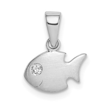 Sterling Silver Rhodium-plated Childs Brushed CZ Fish Pendant