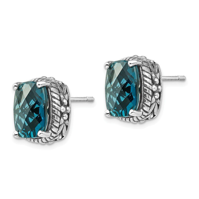 Quality Gold Sterling Silver London Blue Topaz Post Earrings