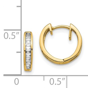 14k White Gold Baguette Diamond Hinged Hoop Earrings