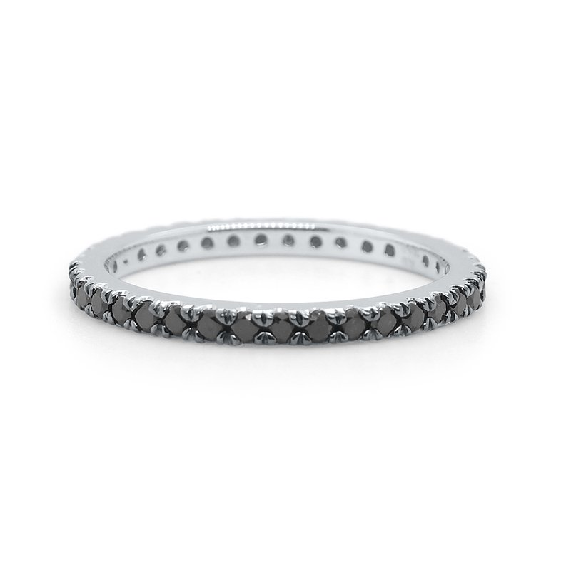 KC Designs 14k Gold and Black Diamond Eternity Ring