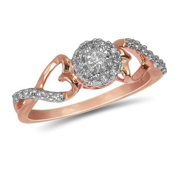 925 SS and Diamond 10K Rose Gold Plated Promise Ring with Miracle Set and Round Halo Center & Heart Shaped Shoulder
