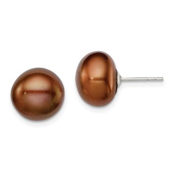 Sterling Silver Rh-plated 11-12mm Brown FWC Button Pearl Earrings