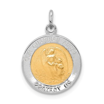 Sterling Silver Rhodium-plated & Vermeil Guardian Angel Medal