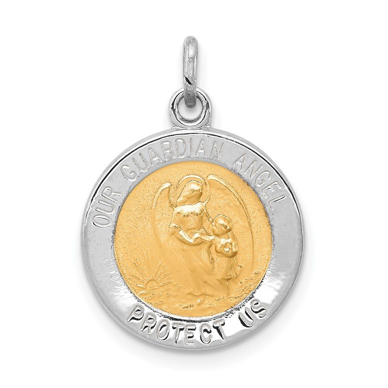 Quality Gold Sterling Silver Rhodium-plated & Vermeil Guardian Angel Medal