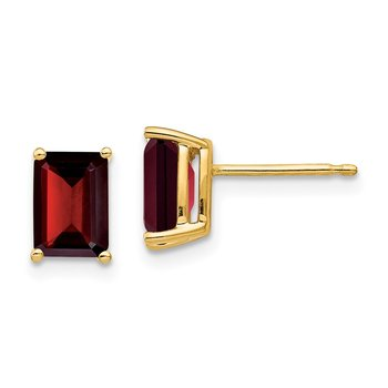 14k 7x5mm Emerald Cut Garnet Earrings