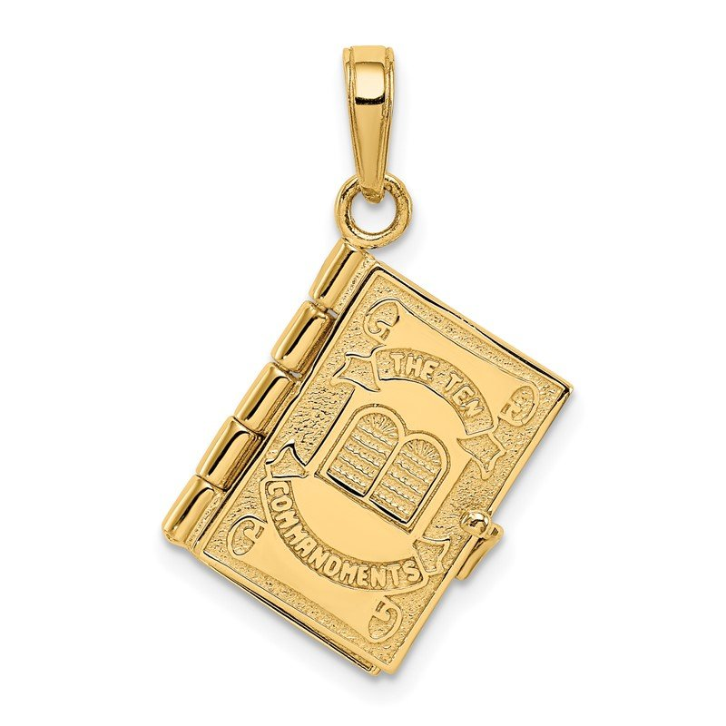 Quality Gold 14K 3D Ten Commandments Bible Pendant