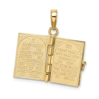 14K 3D Ten Commandments Bible Pendant