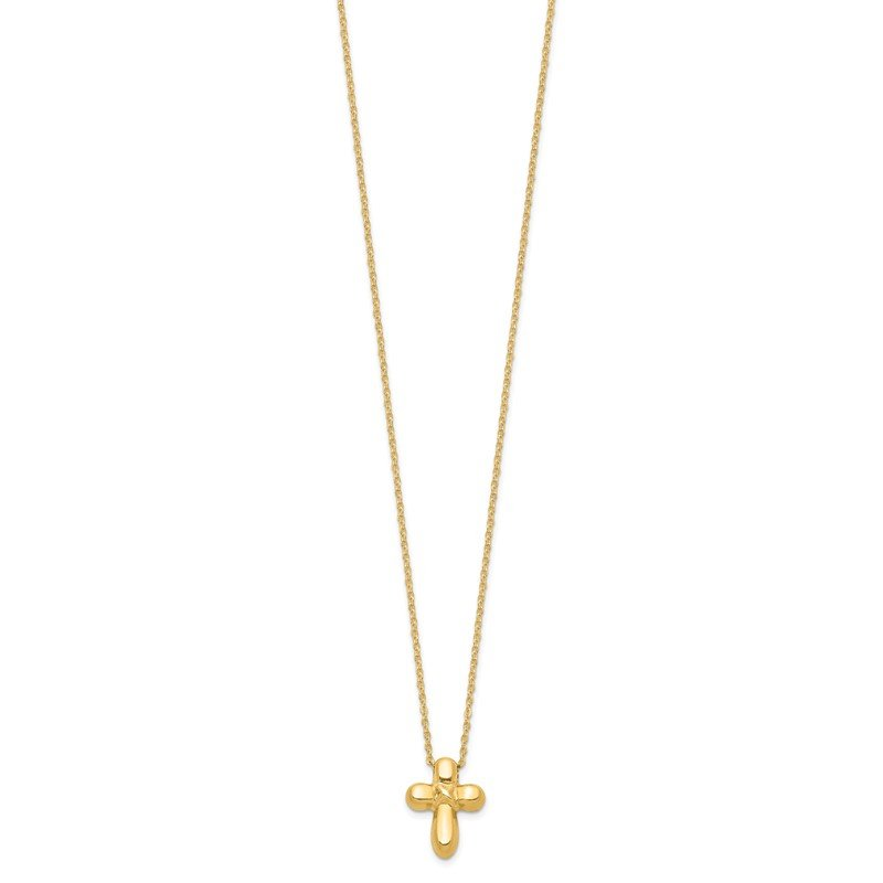 Quality Gold 14k 16in Hollow Cross Necklace