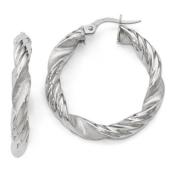 Leslie's 14k White Gold Scratch-finish Twisted Hoop Earrings
