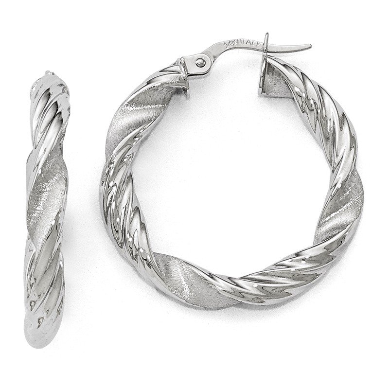 Leslie's Leslie's 14k White Gold Scratch-finish Twisted Hoop Earrings