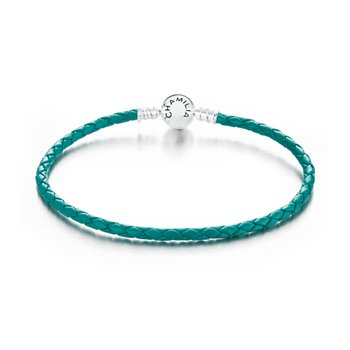 Deep Teal Braided Leather Bracelet with Round Snap Clossure