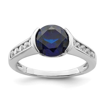 Sterling Silver Rhodium-plated Synthetic Blue Sapphire & CZ Bezel Ring