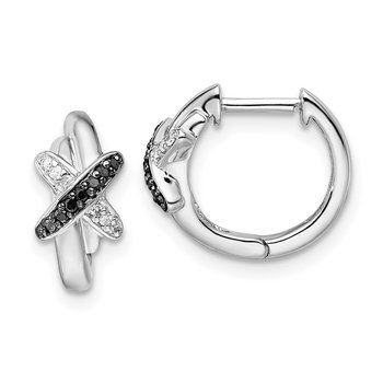 Sterling Silver Rhod Plated Black and White Diamond Hoop Earrings