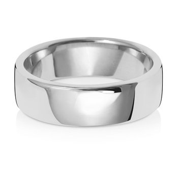 18Ct White Gold 6mm Soft Court Wedding Ring