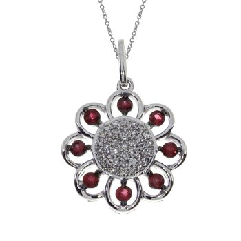 14k White Gold Ruby Sunflower Pendant