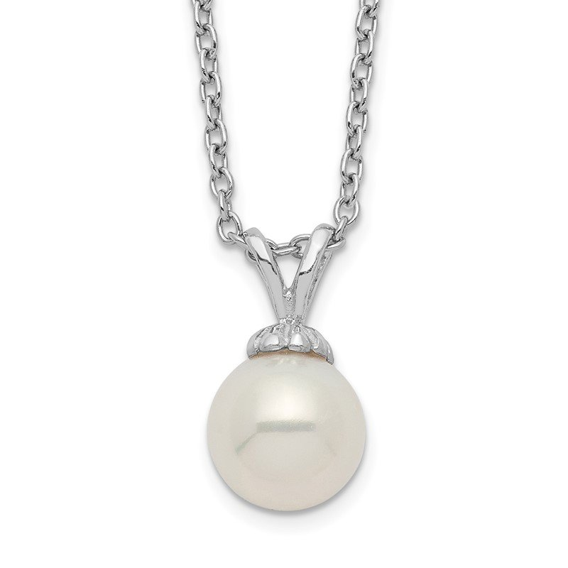 Quality Gold Sterling Silver Rhod-plat 7-7.5mm White Round FWC Pearl Necklace