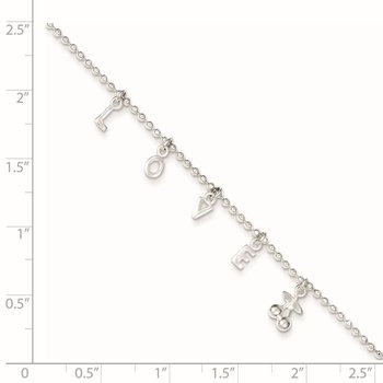 Sterling Silver LOVE 10 in Plus1 in Ext. Anklet
