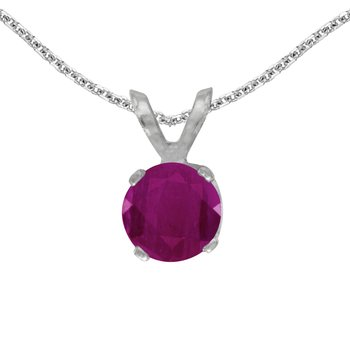 14k White Gold Round Ruby Pendant