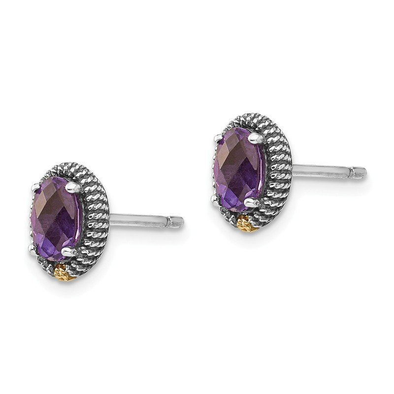 Shey Couture Sterling Silver w/14k Oval Amethyst Post Earrings