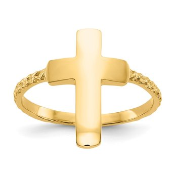 14k Polished Textured Cross Ring