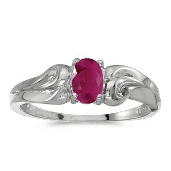 10k White Gold Oval Ruby Ring