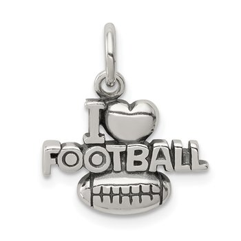 Sterling Silver Antique I (heart) Football Charm