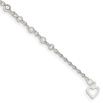 Sterling Silver Polished 9in Plus 1in ext FWC Pearl and Heart Anklet