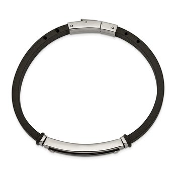 Stainless Steel Polished Black IP-plated Black Rubber 8.25in Bracelet