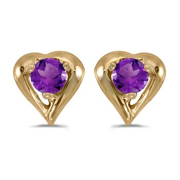 14k Yellow Gold Round Amethyst Heart Earrings