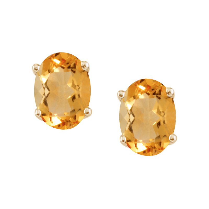 Color Merchants 14k Yellow Gold Large 6x8 mm Oval Citrine Studs