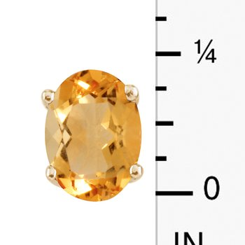 14k Yellow Gold Large 6x8 mm Oval Citrine Studs