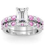 Round Diamond & Pink Sapphire Engagement Ring with Matching Wedding Band