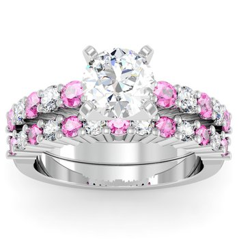 Round Diamond & Pink Sapphire Engagement Ring with Matching Wedding Band