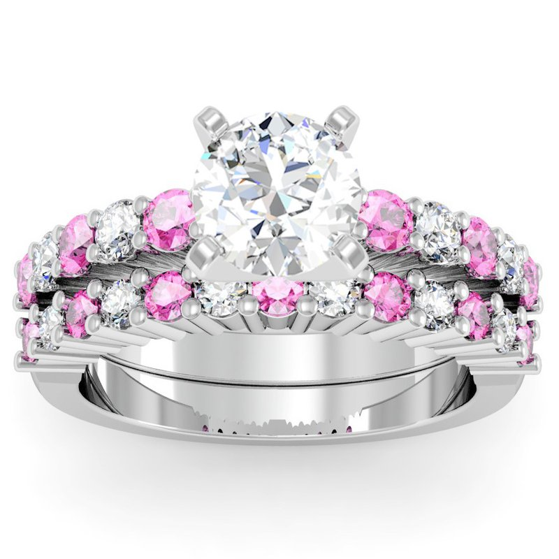 California Coast Designs Round Diamond & Pink Sapphire Engagement Ring with Matching Wedding Band