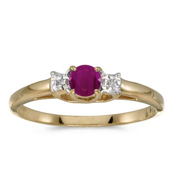 10k Yellow Gold Round Ruby And Diamond Ring