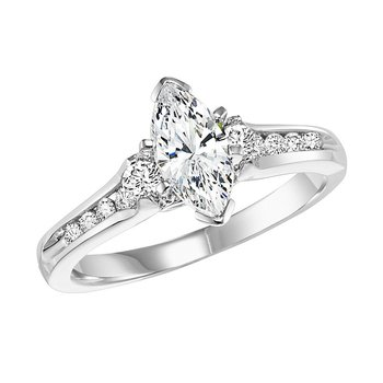 14K Diamond Engagement Ring 1/3 ctw with 3/4 ct Mq Center