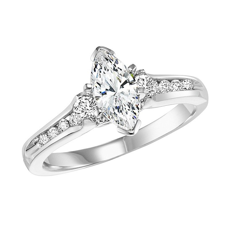 Bridal Bells 14K Diamond Engagement Ring 1/3 ctw with 3/4 ct Mq Center