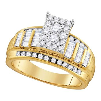 10kt Yellow Gold Womens Round Diamond Cluster Bridal Wedding Engagement Ring 2.00 Cttw