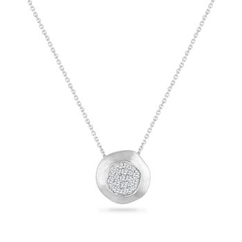 14K DISK NECKLACE WITH 22 DIAMONDS 0.34CT 18 INCHES