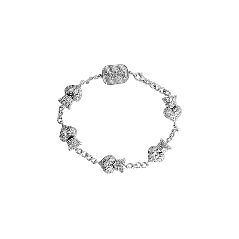 King Baby Crowned Heart Chain Bracelet. Silver And White Cz.