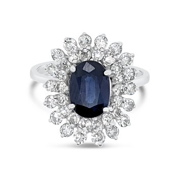 14K White Gold Diamond Natural Blue Sapphire Ballerina Halo Ring