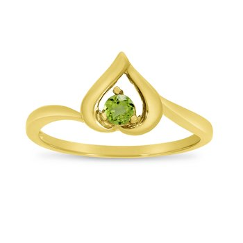 10k Yellow Gold Round Peridot Heart Ring