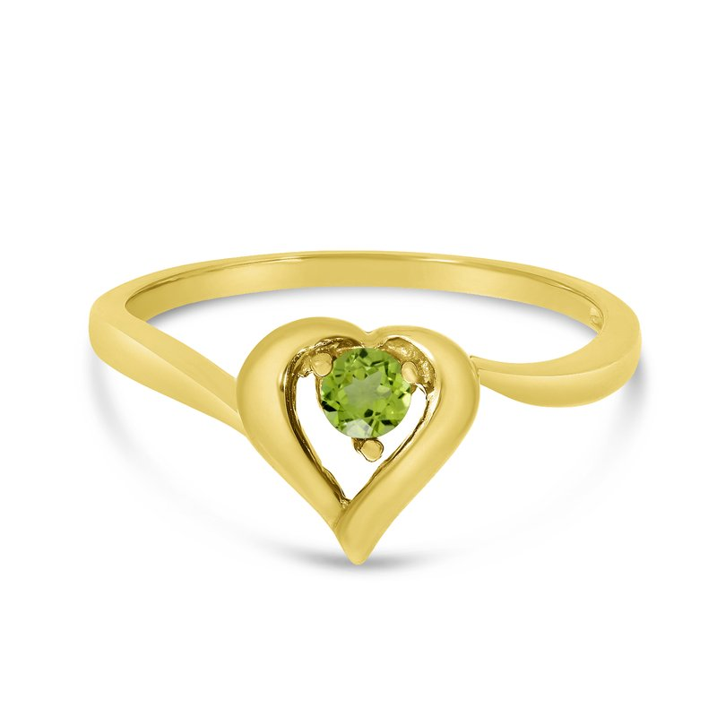 Color Merchants 10k Yellow Gold Round Peridot Heart Ring