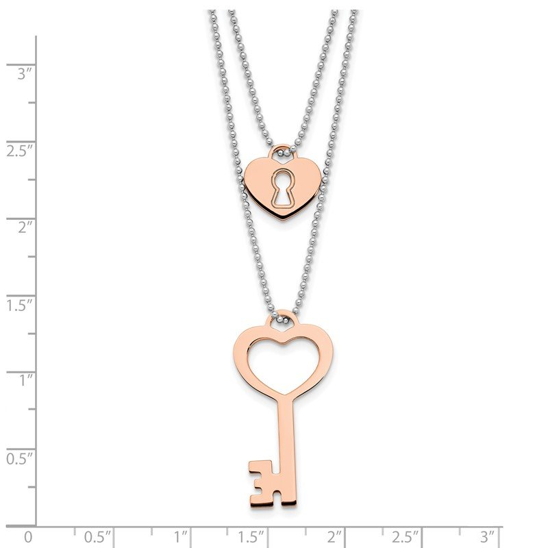 Leslie's Leslie's Sterling Silver Rose Gold-plated Lock and Key w/1in ext. Necklace