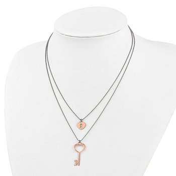 Leslie's Sterling Silver Rose Gold-plated Lock and Key w/1in ext. Necklace