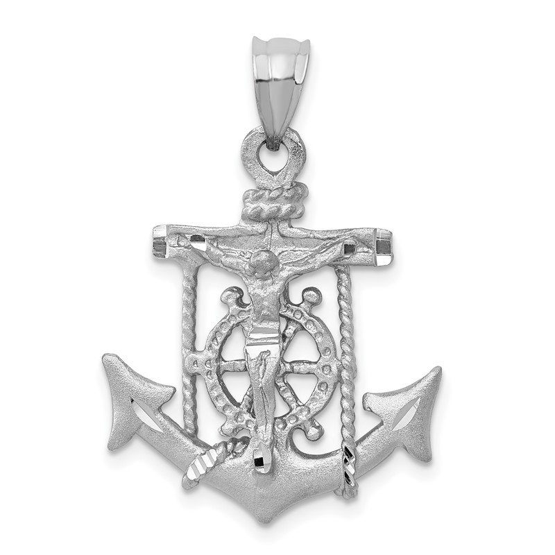 Quality Gold 14k White Gold Mariners Cross Pendant