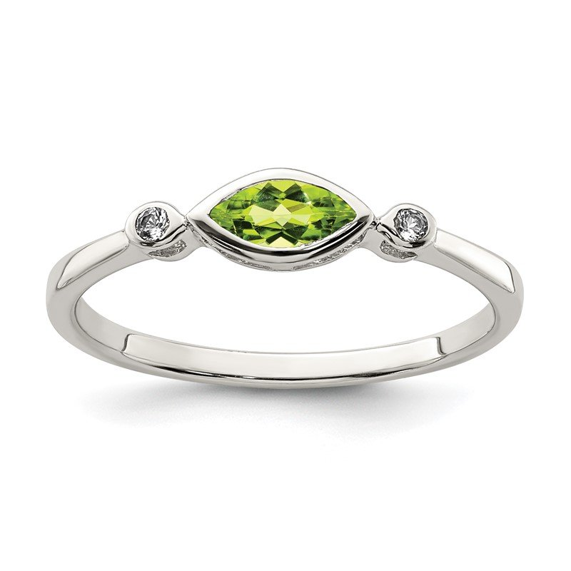 Quality Gold Sterling Silver Polished Peridot and White Topaz Ring