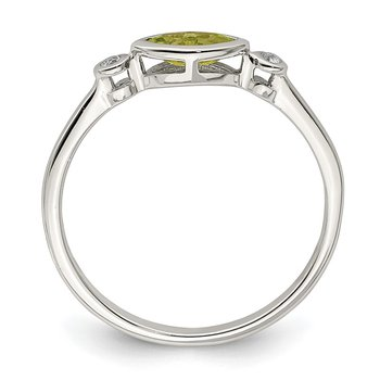 Sterling Silver Polished Peridot and White Topaz Ring