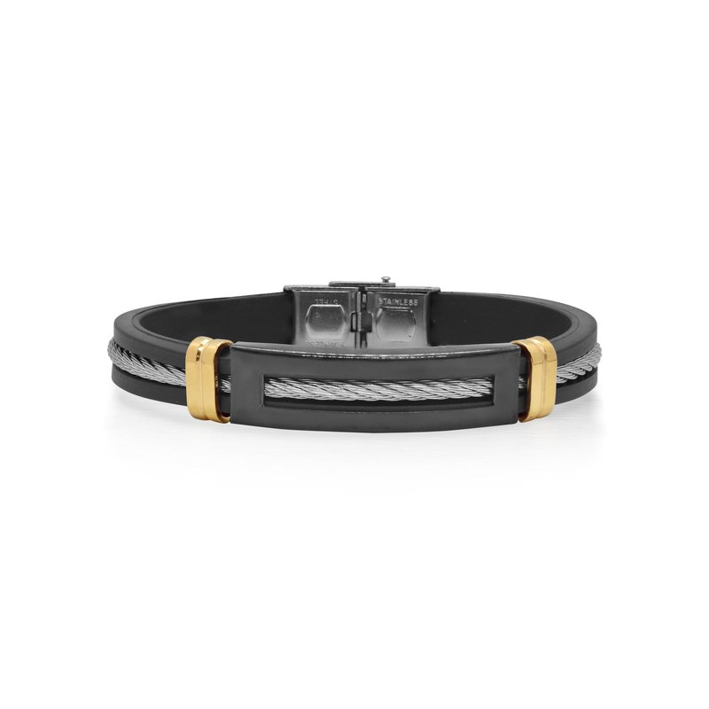 ALOR Grey Cable Bracelet with Yellow Steel Station & Black Rubber