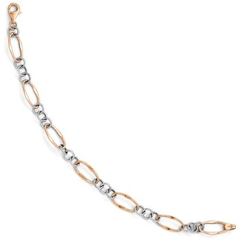 Leslie's 14K Two-tone Rose & White Polished Link Bracelet